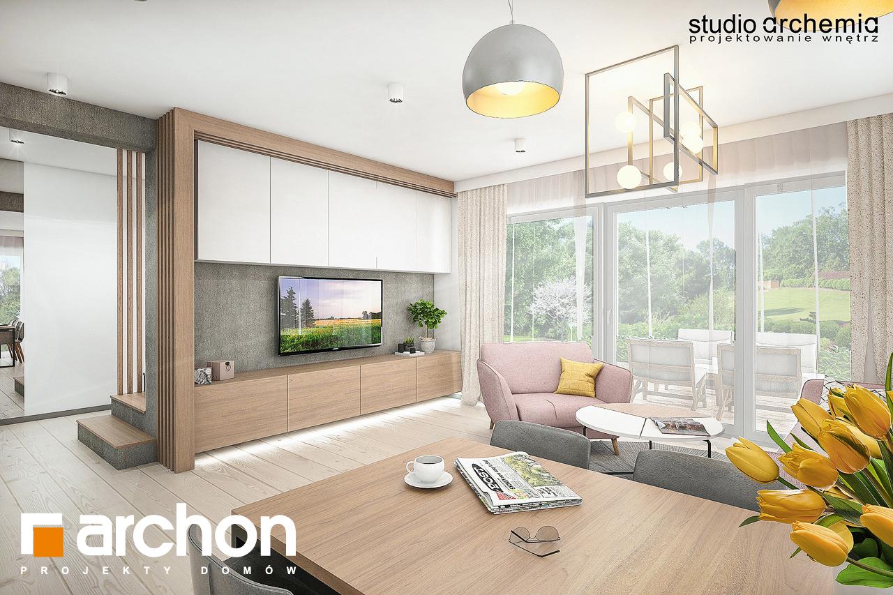 Проект дома ARCHON+ Вилла Констанция дневная зона (визуализация 1 вид 1)