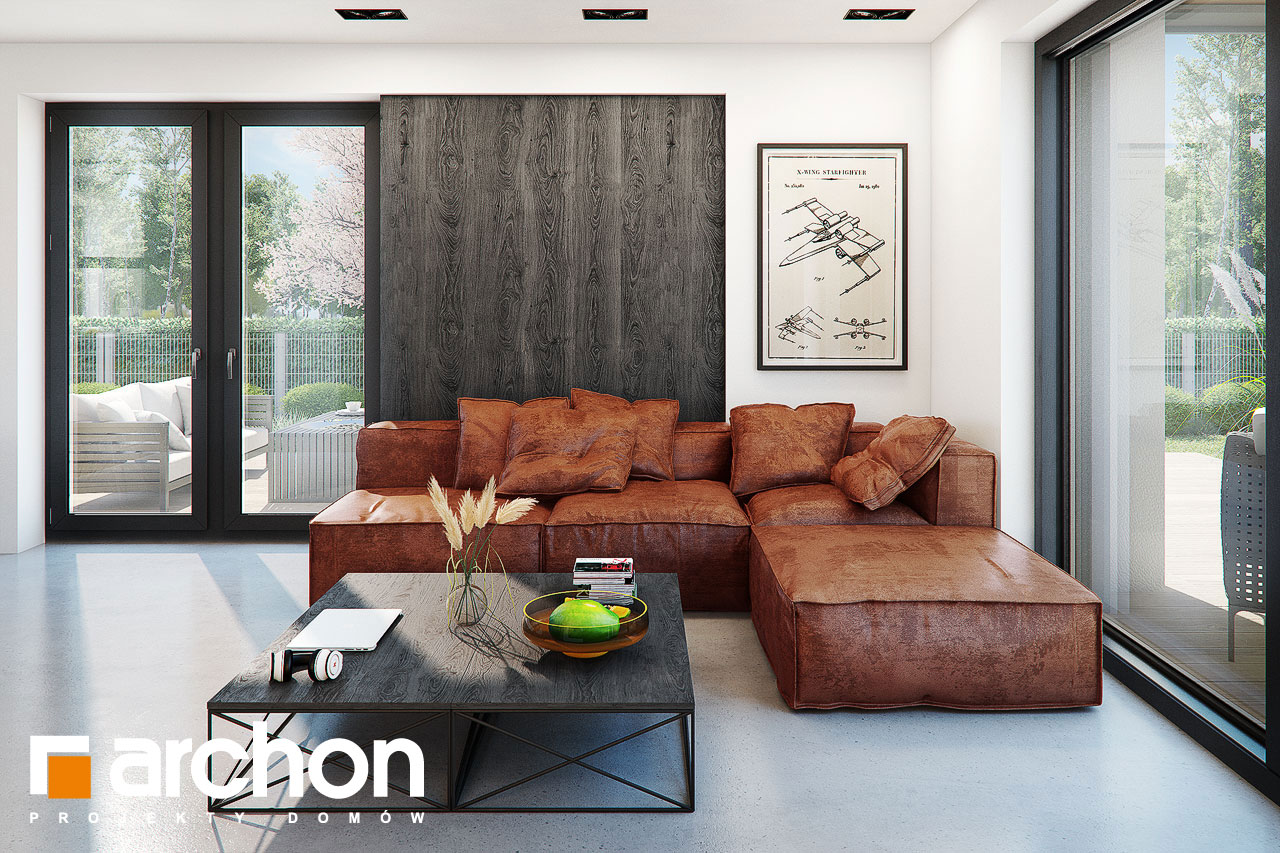 Проект дома ARCHON+ Дом в стоколосе (Г2) дневная зона (визуализация 1 вид 3)