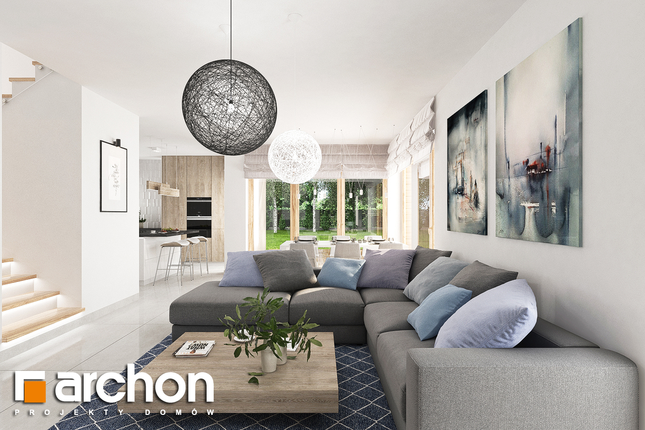Проект дома ARCHON+ Дом в лосанах дневная зона (визуализация 1 вид 4)