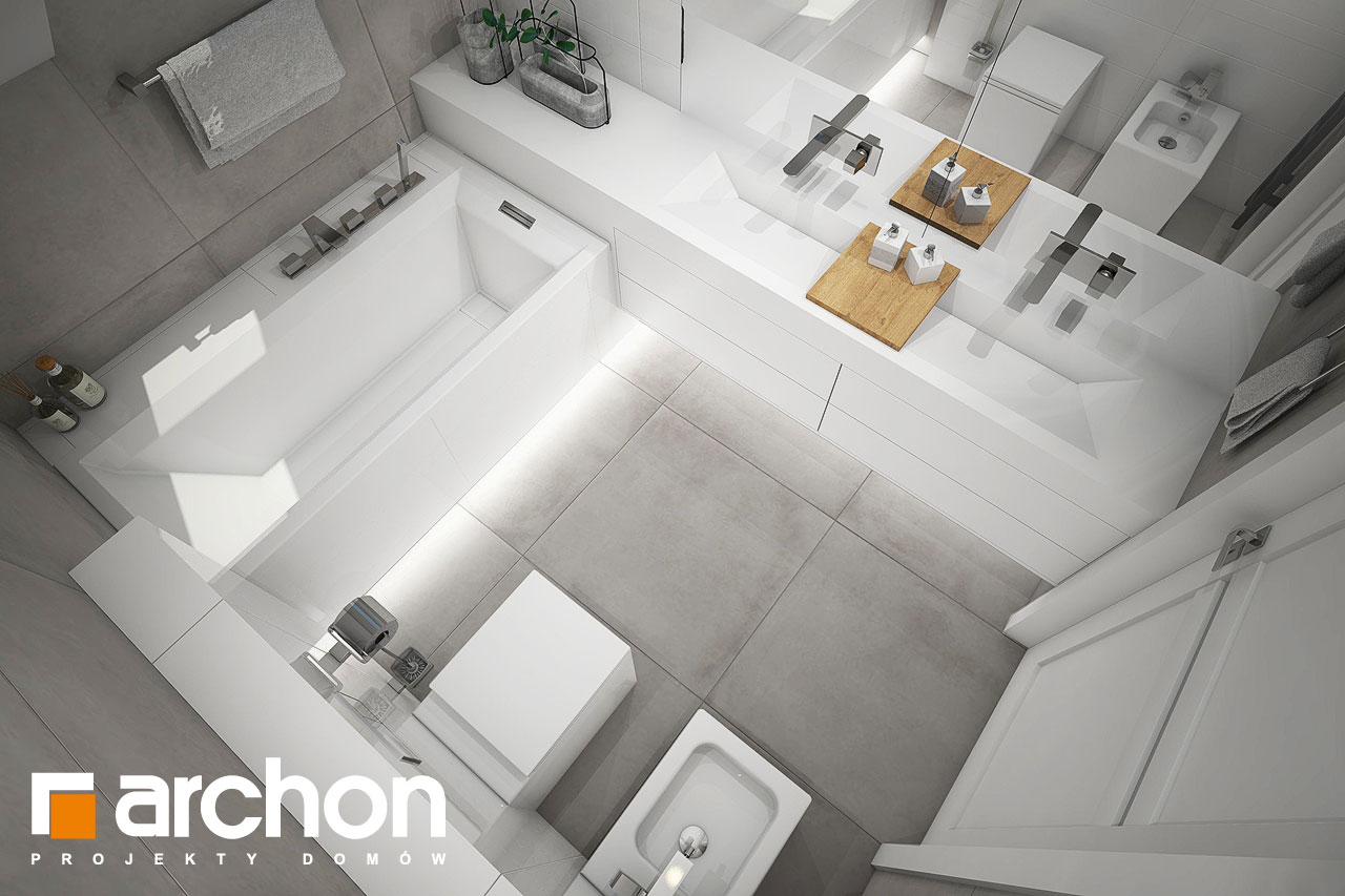 Проект будинку ARCHON+ Будинок в журавках 7 візуалізація ванни (візуалізація 3 від 4)