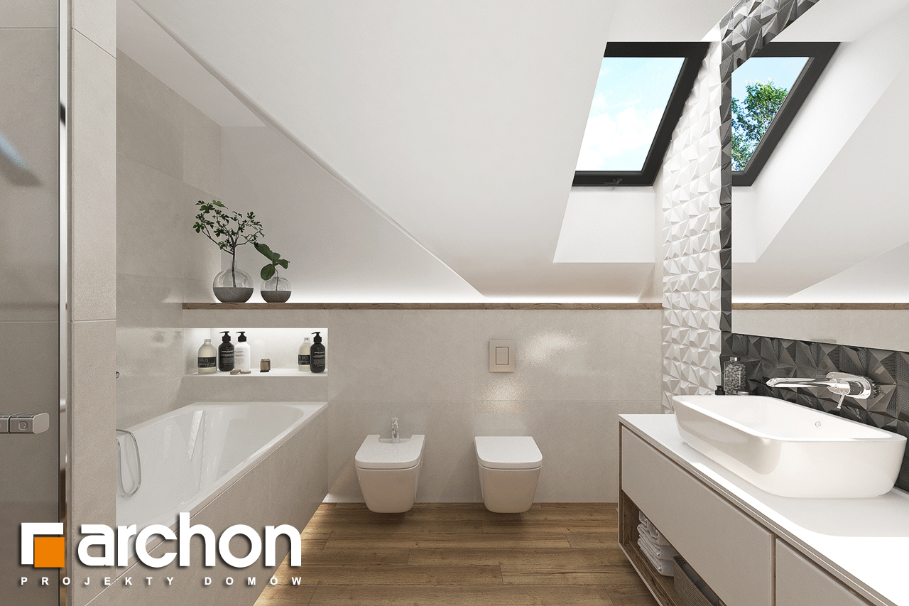 Проект будинку ARCHON+ Будинок у телімах (Г) візуалізація ванни (візуалізація 3 від 1)