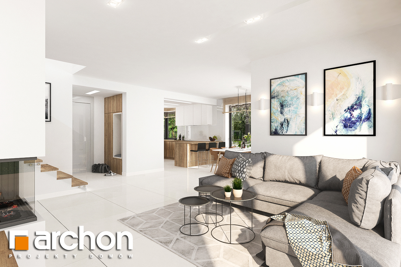 Проект дома ARCHON+ Дом в теллимах (Г) дневная зона (визуализация 1 вид 3)
