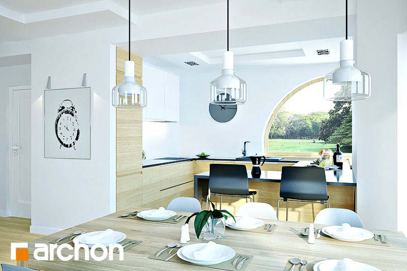Проект будинку ARCHON+ Будинок в зефірантесі 2 (Г2) візуалізація кухні 1 від 1