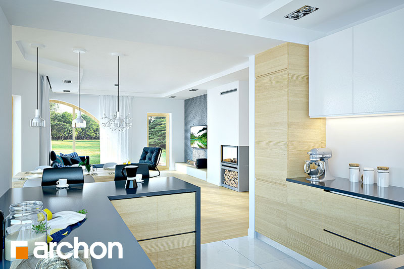 Проект дома ARCHON+ Дом в зефирантесе 2 (Г2) визуализация кухни 1 вид 2