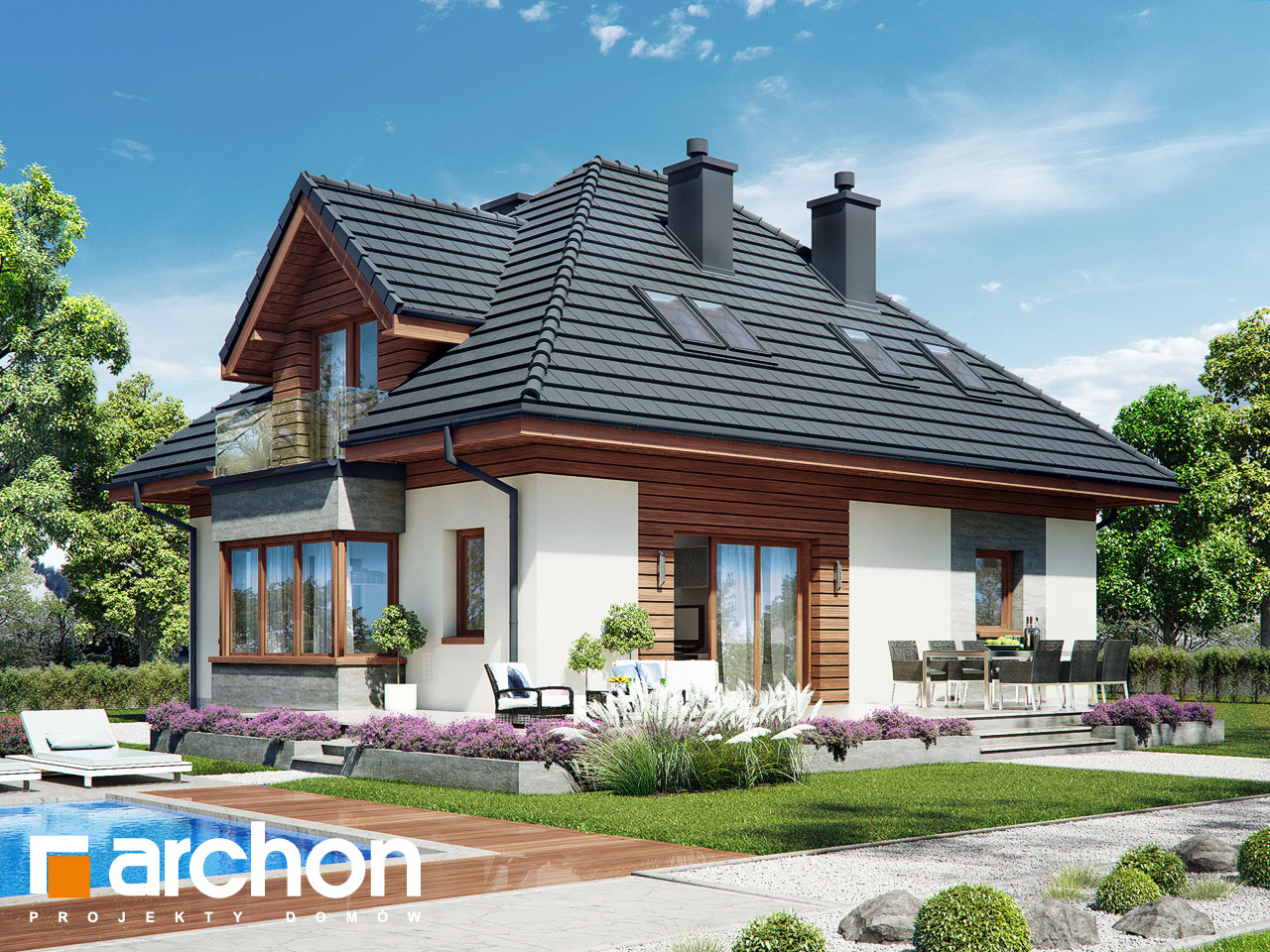 Проект будинку ARCHON+ Будинок в клеверках 3 Вид 2