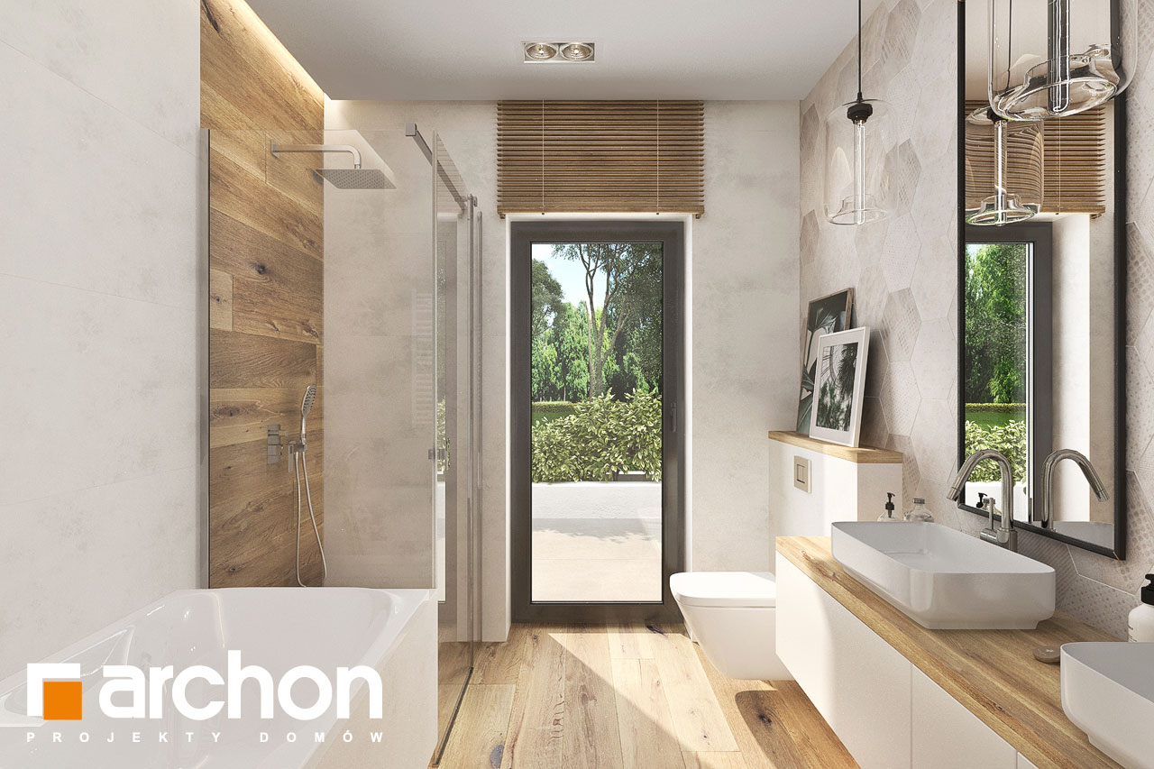 Проект будинку ARCHON+ Будинок у відличках 2 (Г2) візуалізація ванни (візуалізація 3 від 2)