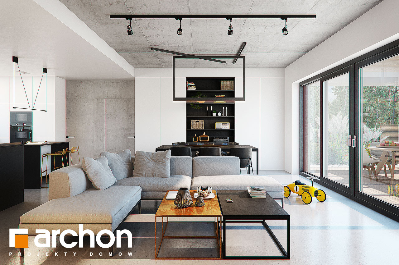 Проект дома ARCHON+ Дом в навлоциях 3 (Г2) дневная зона (визуализация 1 вид 2)