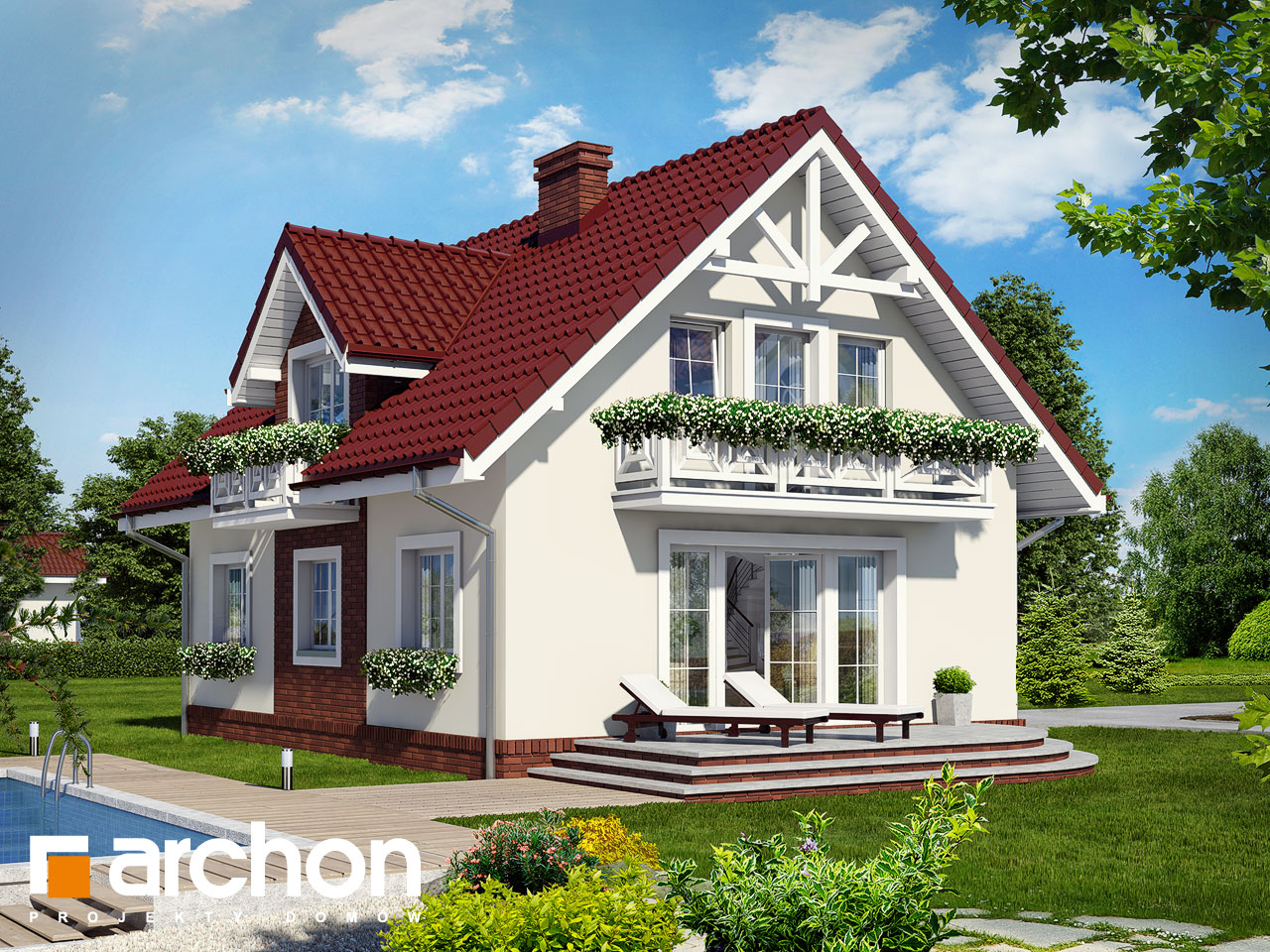 Проект будинку ARCHON+ Будинок в солодках вер.2 Вид 2
