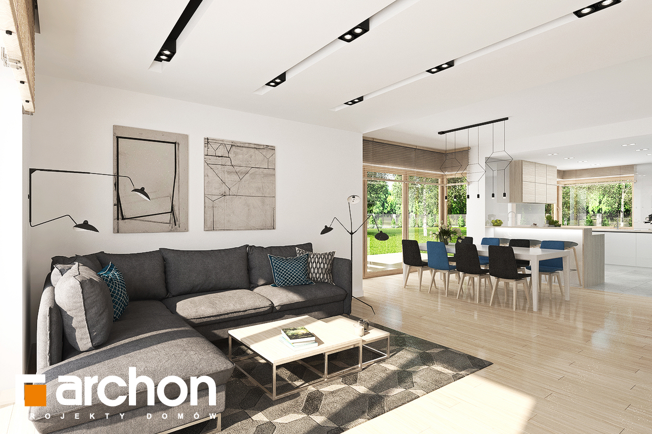 Проект будинку ARCHON+ Будинок у гортензіях 2 (Г2) денна зона (візуалізація 1 від 2)
