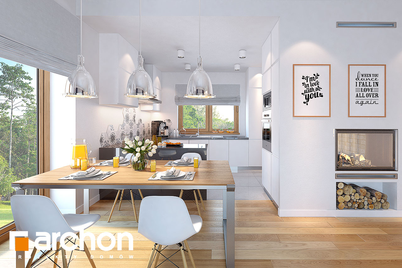 Проект будинку ARCHON+ Будинок у вівсянніці денна зона (візуалізація 1 від 4)