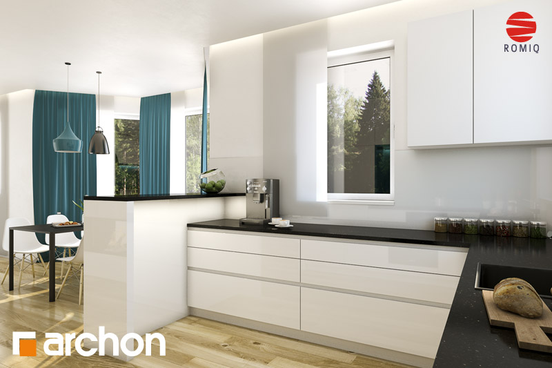 Проект будинку ARCHON+ Будинок під каркасом (H) ver.2 аранжування кухні 1 від 3
