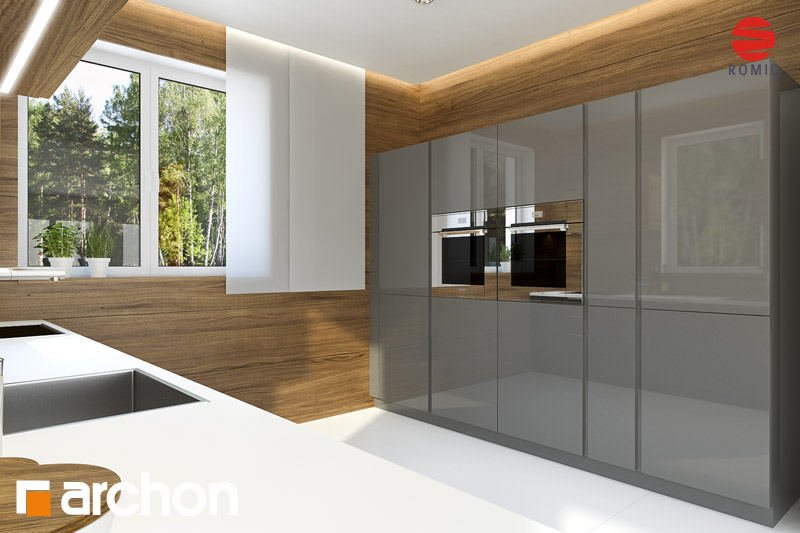 Проект будинку ARCHON+ Будинок під каркасом (H) вер.2 аранжування кухні 2 від 2