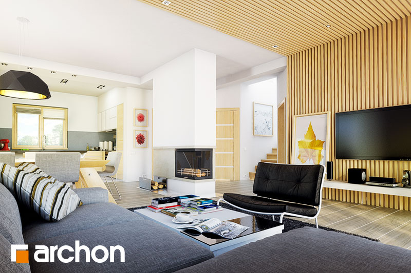 Проект дома ARCHON+ Дом под каркасом (H) ver.2 дневная зона (визуализация 1 вид 1)