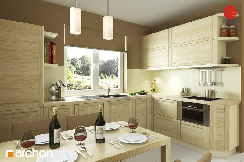 Проект дома ARCHON+ Дом под красной рябиной (Г) вер.3 аранжировка кухни 1 вид 2