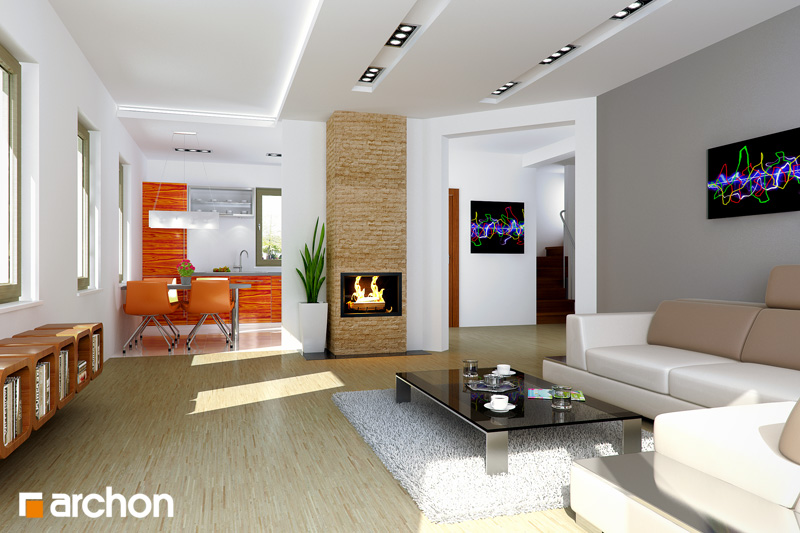 Проект будинку ARCHON+ Будинок в суниці 4 денна зона (візуалізація 2 від 1)