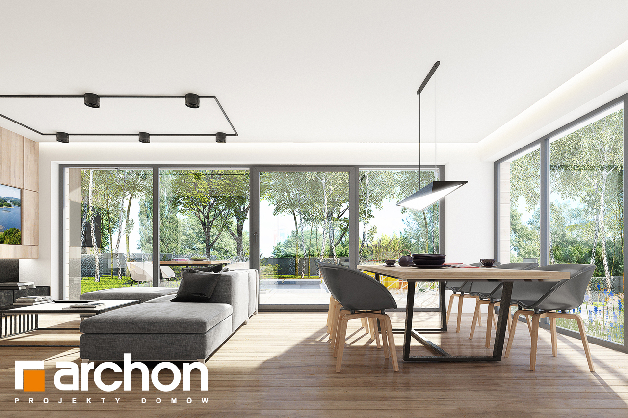 Проект дома ARCHON+ Дом в сурфиниях 2 дневная зона (визуализация 1 вид 3)