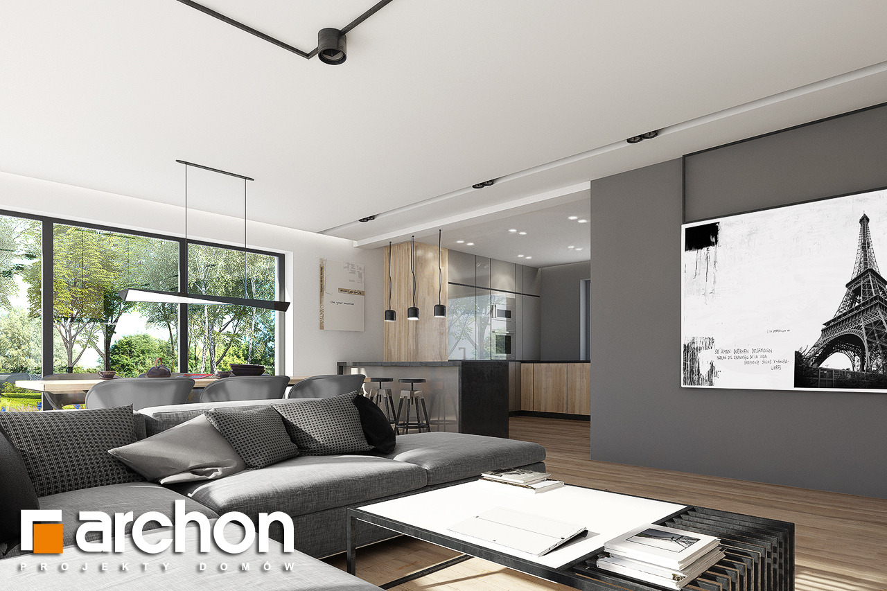 Проект дома ARCHON+ Дом в сурфиниях 2 дневная зона (визуализация 1 вид 6)