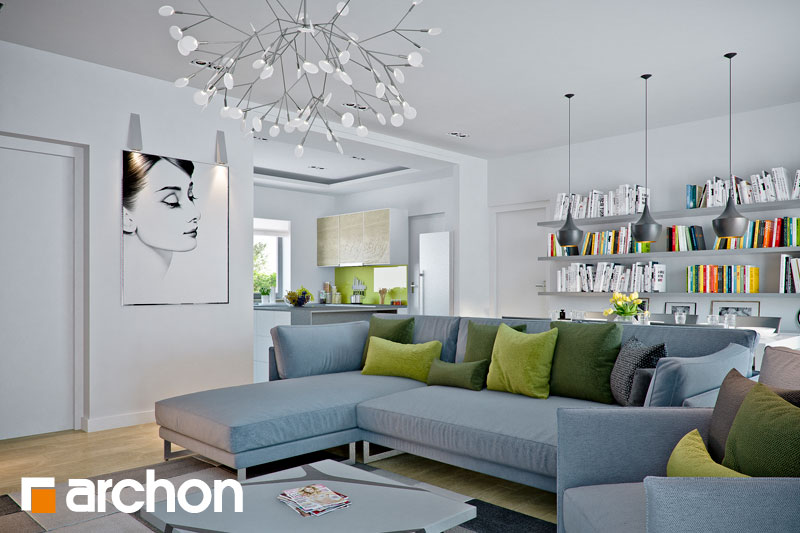 Проект дома ARCHON+ Дом в навлоциях (Г2) дневная зона (визуализация 1 вид 1)
