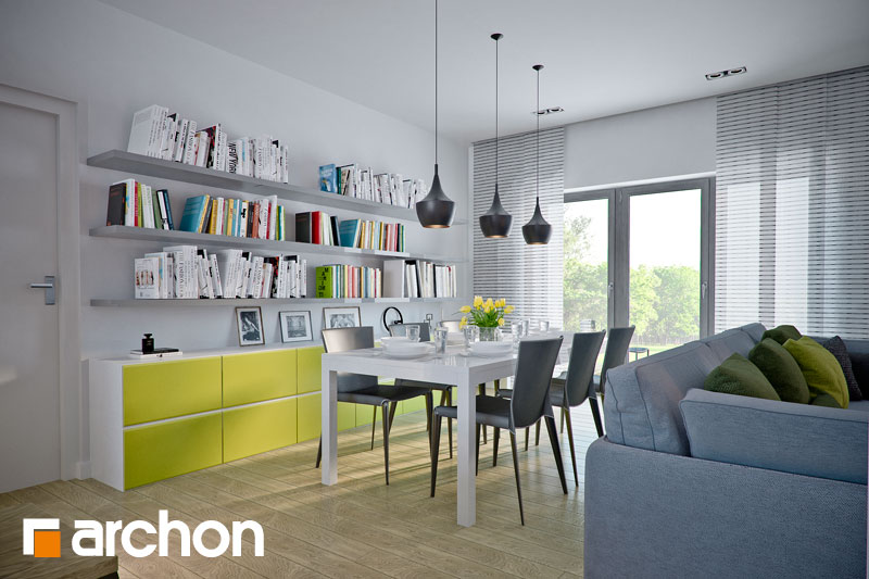 Проект дома ARCHON+ Дом в навлоциях (Г2) дневная зона (визуализация 1 вид 3)
