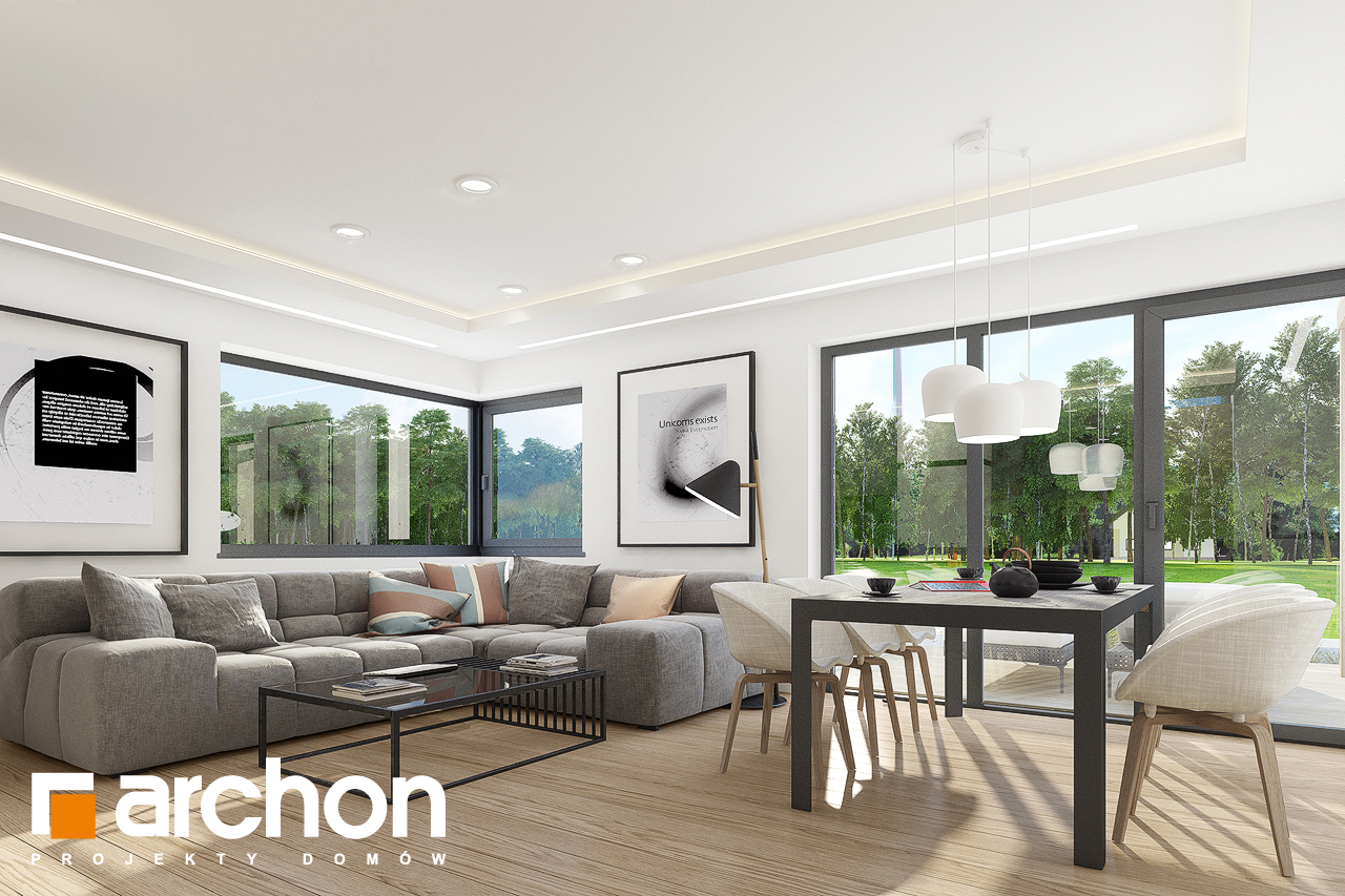 Проект дома ARCHON+ Дом в изопируме 7 (Г2) дневная зона (визуализация 1 вид 4)