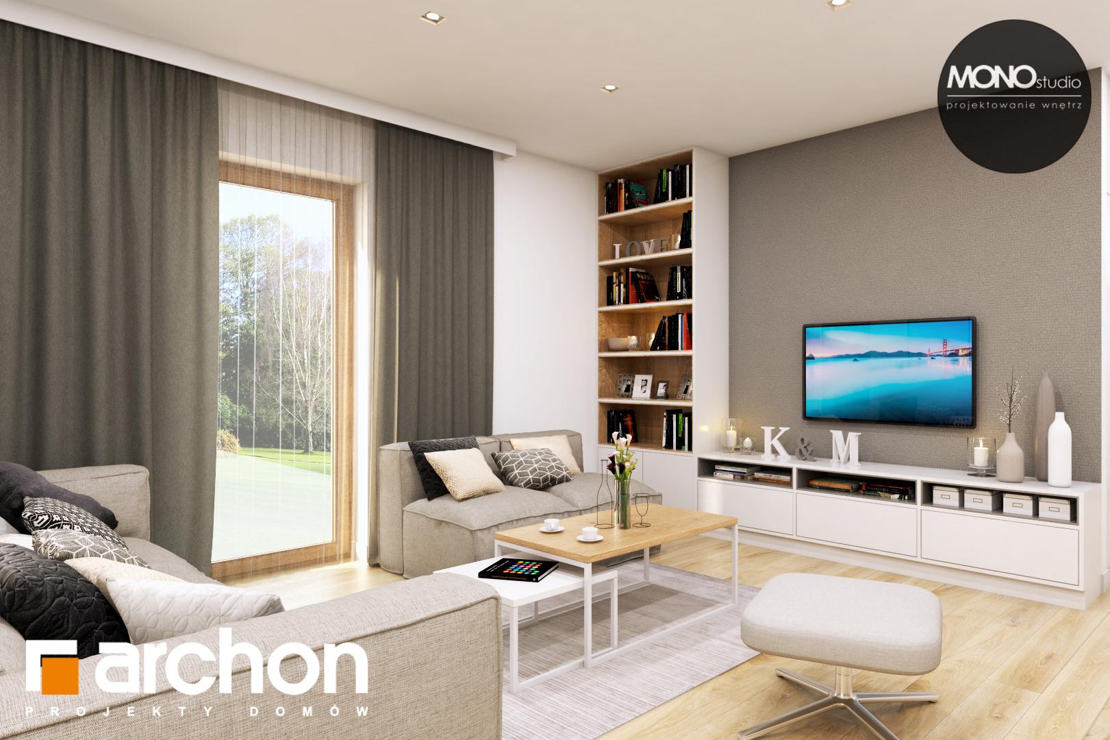 Проект дома ARCHON+ Дом в жимолости (Г2Т) дневная зона (визуализация 1 вид 1)