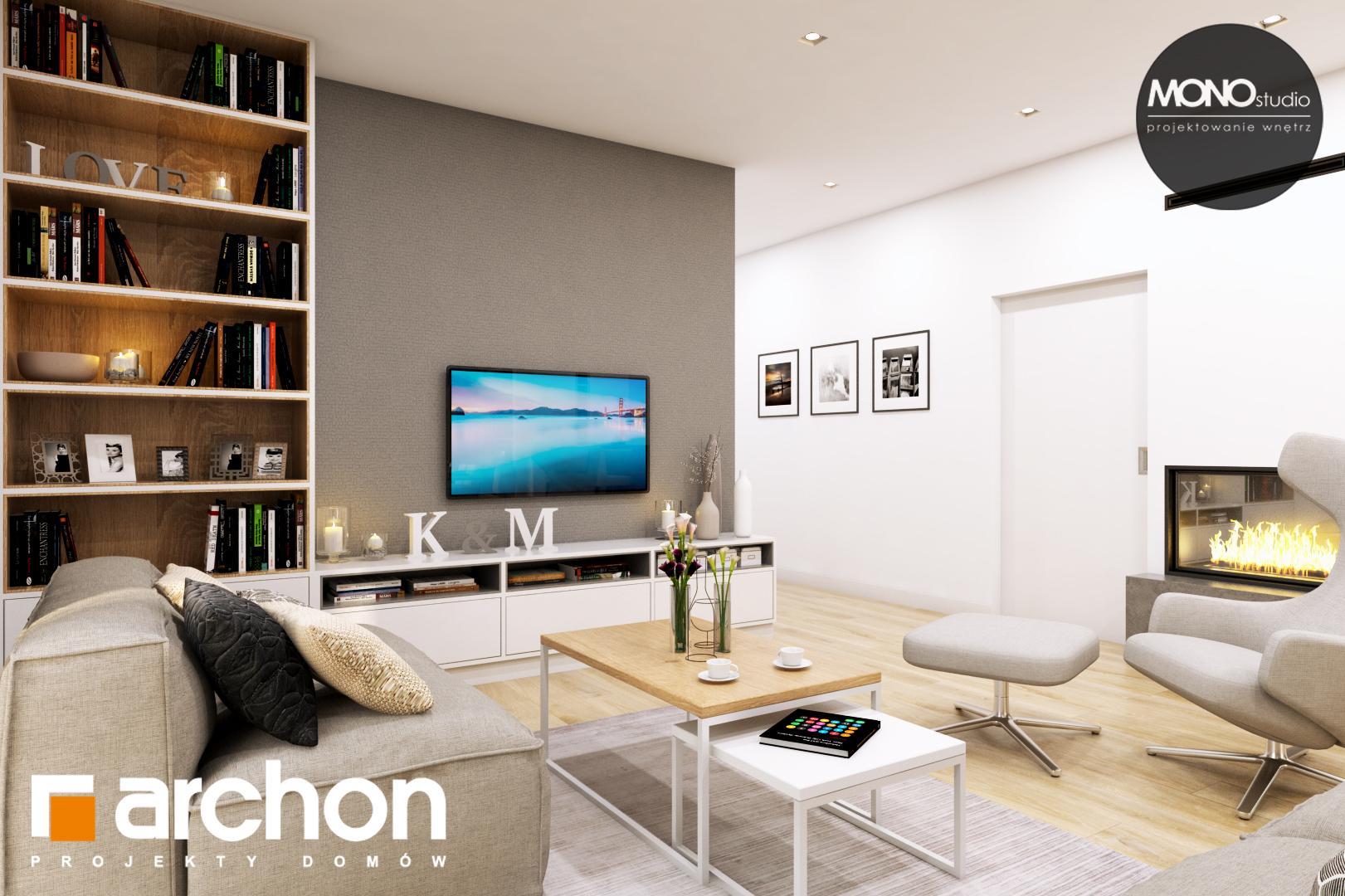 Проект дома ARCHON+ Дом в жимолости (Г2Т) дневная зона (визуализация 1 вид 2)