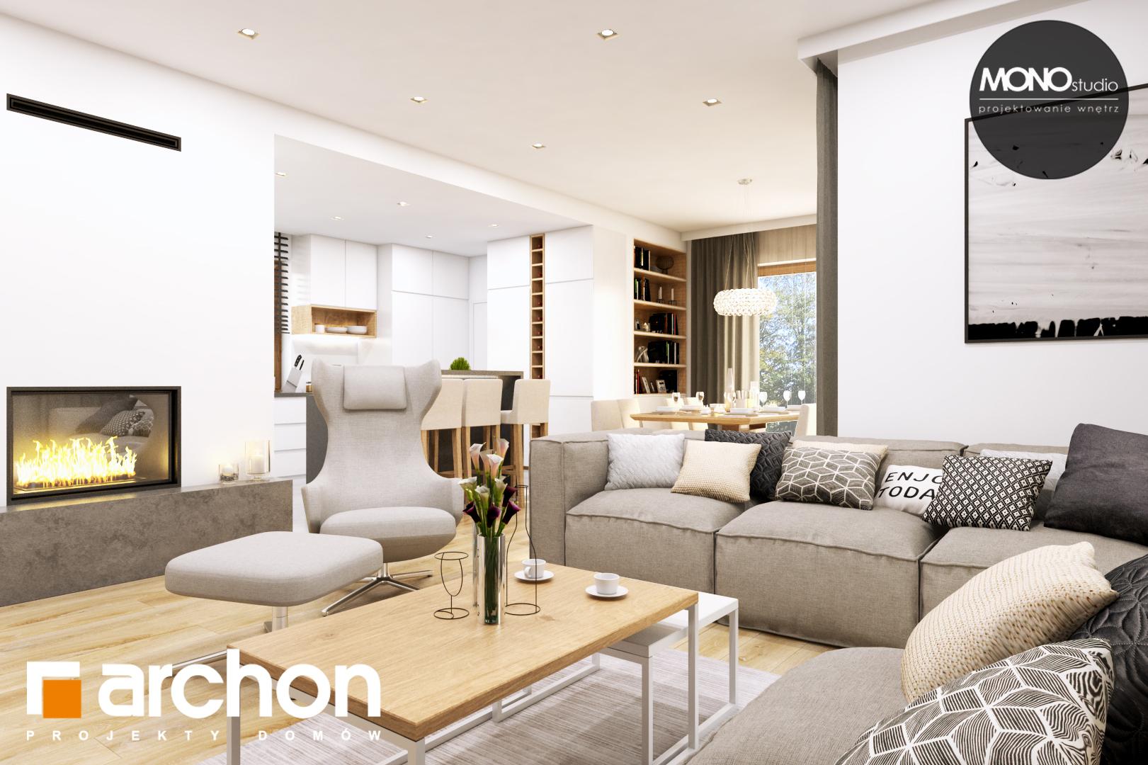Проект дома ARCHON+ Дом в жимолости (Г2Т) дневная зона (визуализация 1 вид 3)