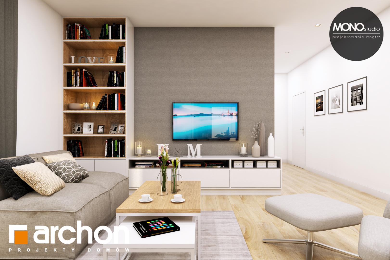 Проект дома ARCHON+ Дом в жимолости (Г2Т) дневная зона (визуализация 1 вид 4)