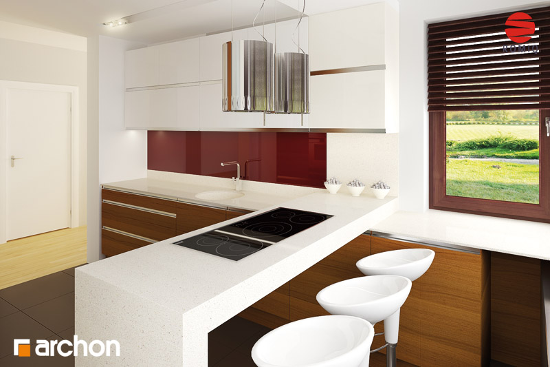 Проект будинку ARCHON+ Будинок в майорані 2 (Н) аранжування кухні 2 від 1