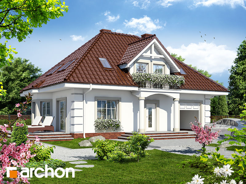 Проект будинку ARCHON+ Будинок в чорнобривцях ver.2 Вид 1