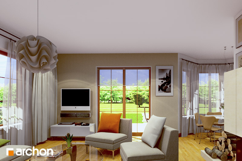 Проект дома ARCHON+ Дом в бархатцах ver.2 дневная зона (визуализация 2 вид 1)