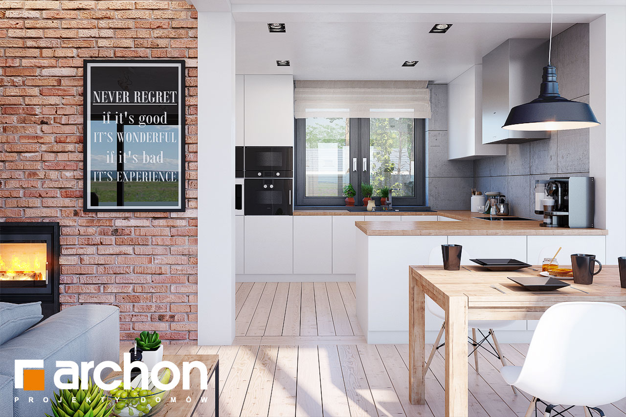 Проект будинку ARCHON+ Будинок в сливах (Г2) візуалізація кухні 1 від 1