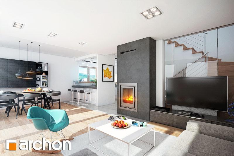 Проект будинку ARCHON+ Будинок в фуксіях денна зона (візуалізація 1 від 1)