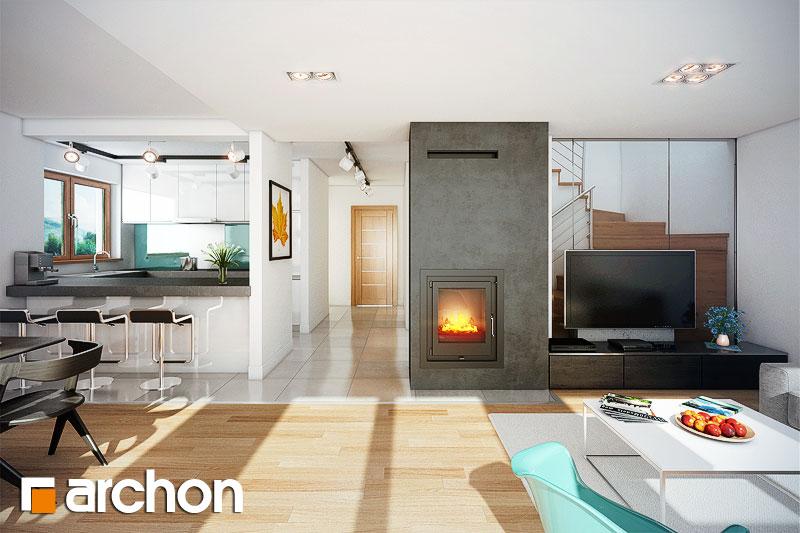 Проект будинку ARCHON+ Будинок в фуксіях денна зона (візуалізація 1 від 2)