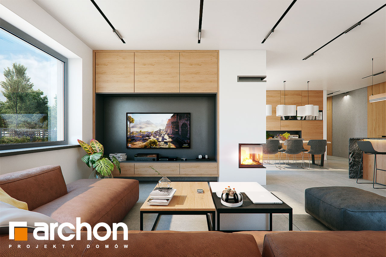 Проект дома ARCHON+ Дом в розах (Г2) дневная зона (визуализация 1 вид 2)