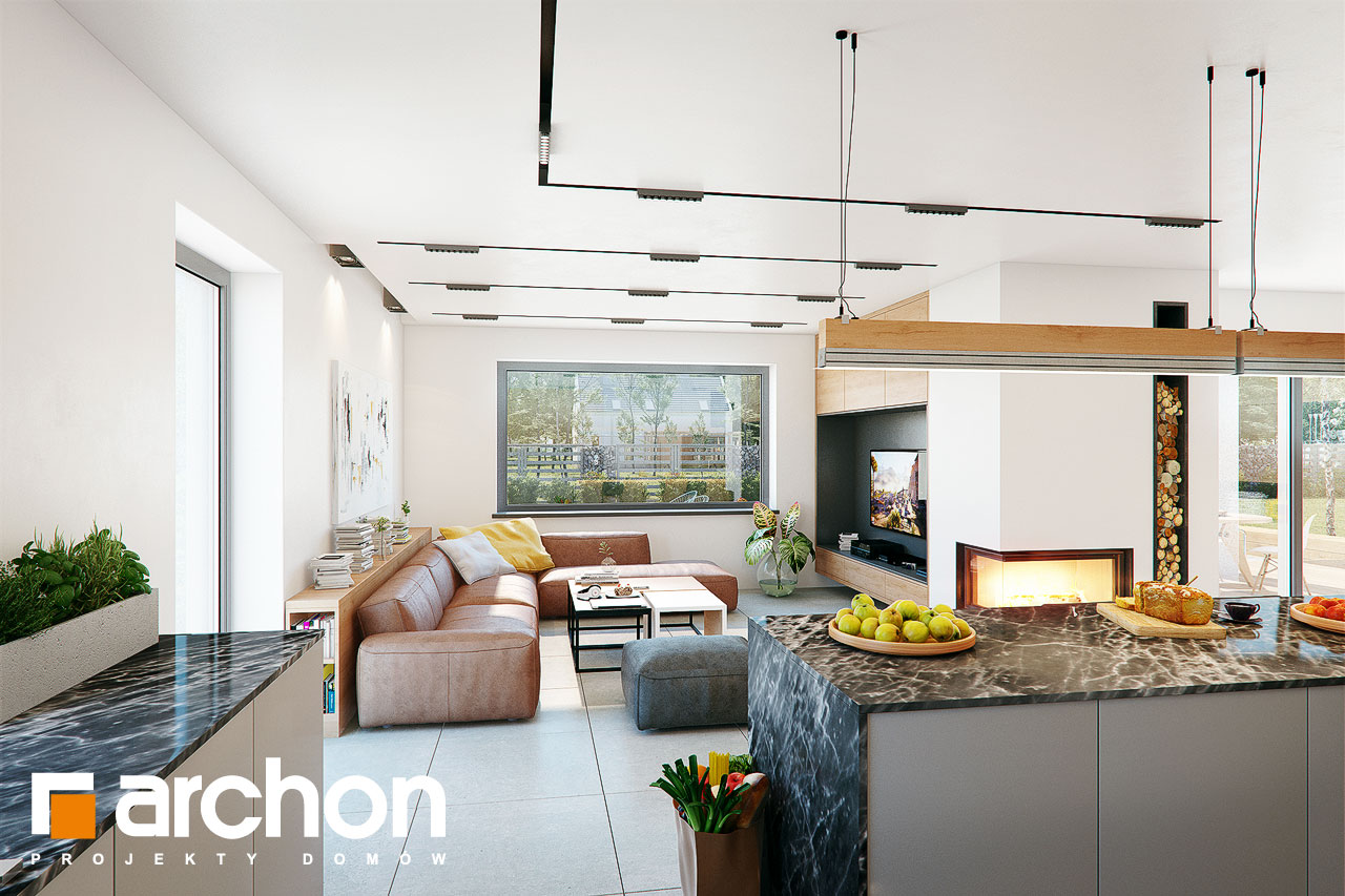 Проект дома ARCHON+ Дом в розах (Г2) дневная зона (визуализация 1 вид 5)