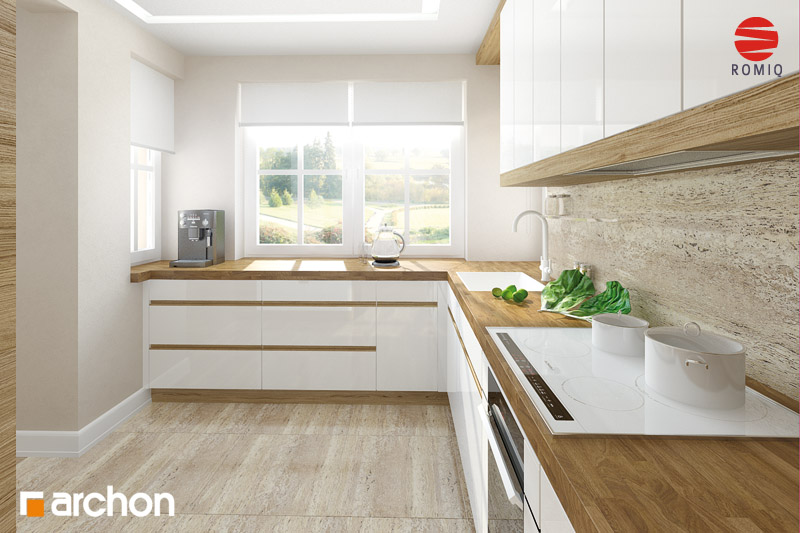 Проект будинку ARCHON+ Будинок в абрикосах аранжування кухні 2 від 3