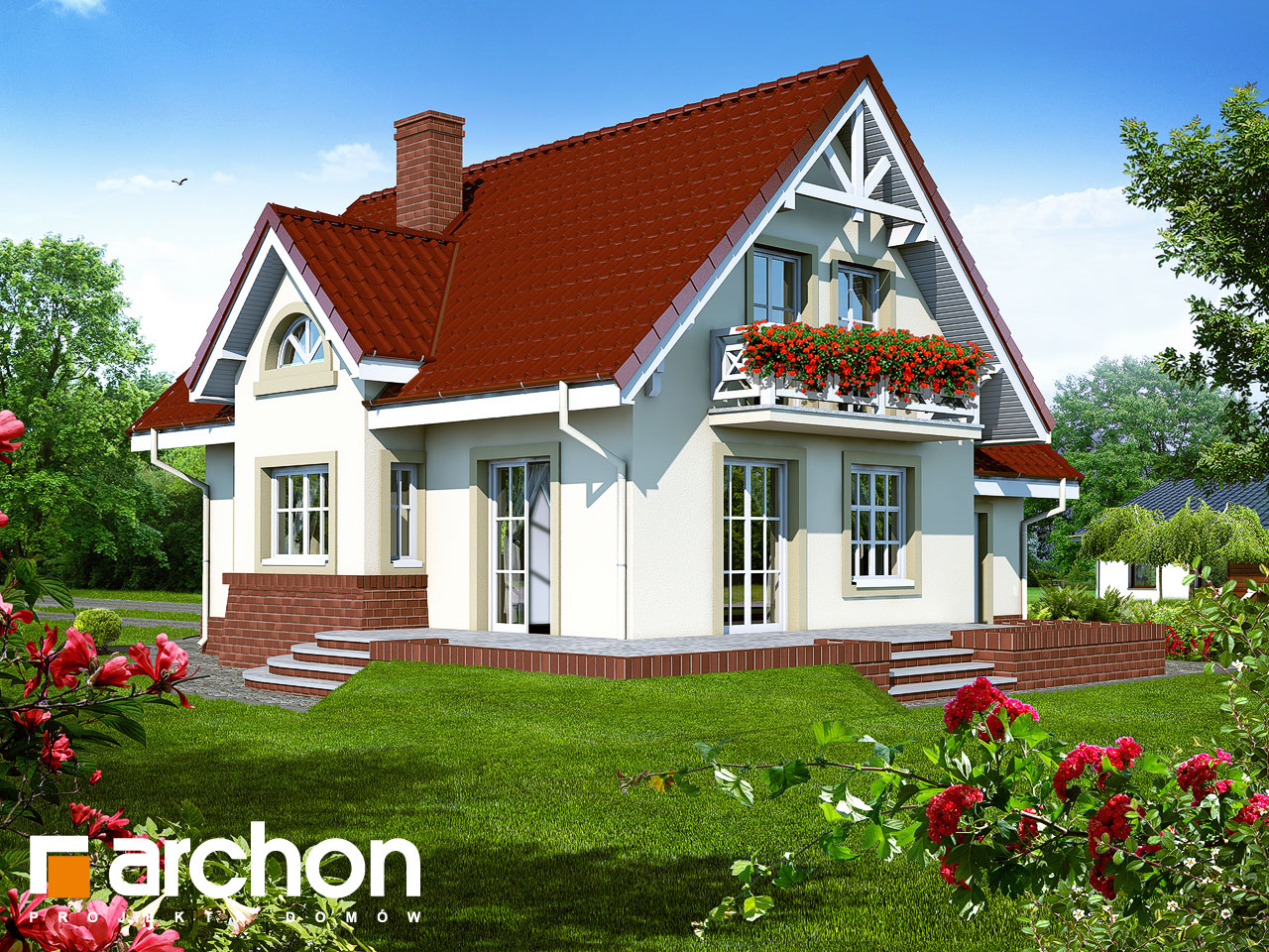 Проект будинку ARCHON+ Будинок в абрикосах Вид 2