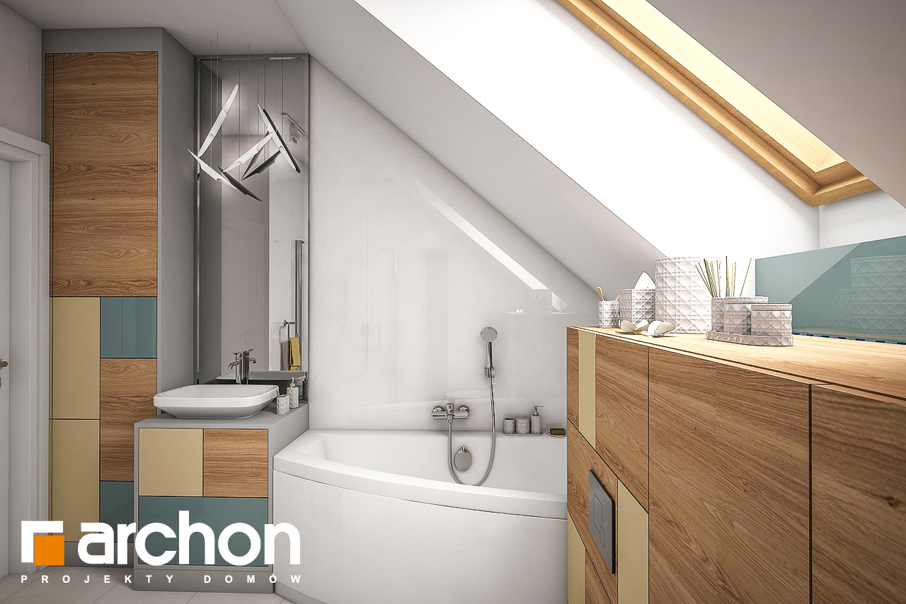Проект будинку ARCHON+ Будинок в журавках 4 візуалізація ванни (візуалізація 3 від 2)
