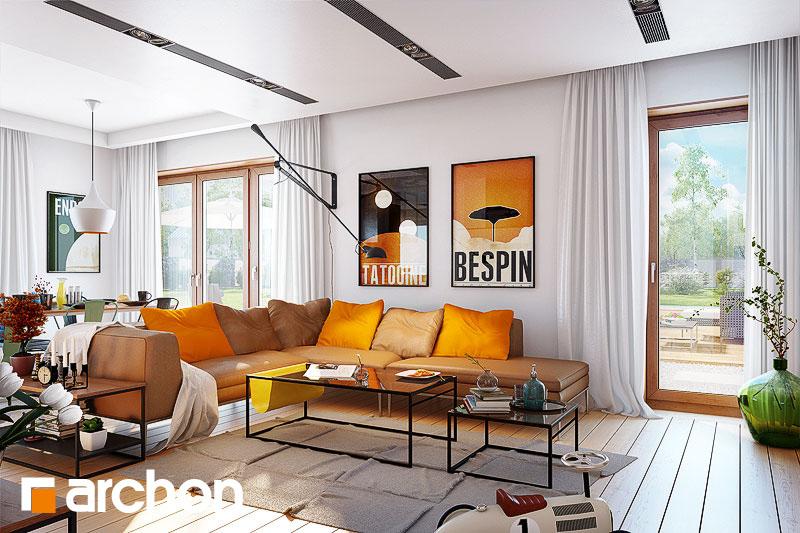 Проект дома ARCHON+ Дом в журавках 4 дневная зона (визуализация 1 вид 2)
