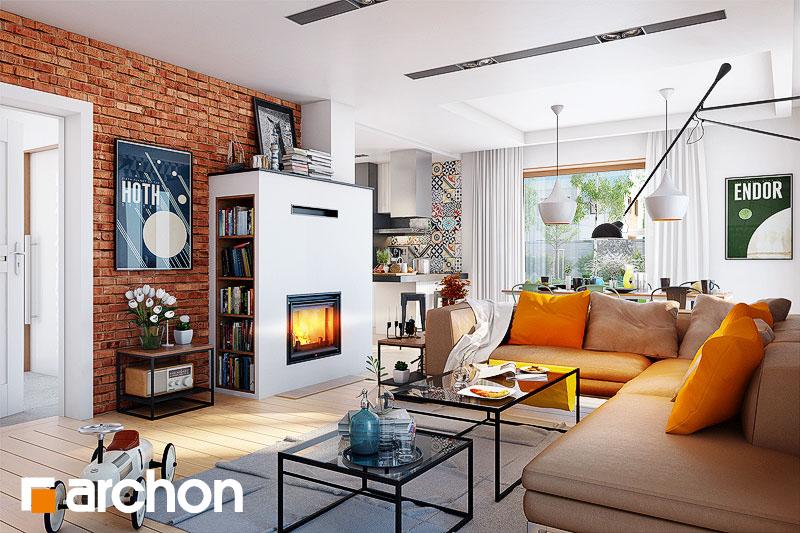 Проект дома ARCHON+ Дом в журавках 4 дневная зона (визуализация 1 вид 3)