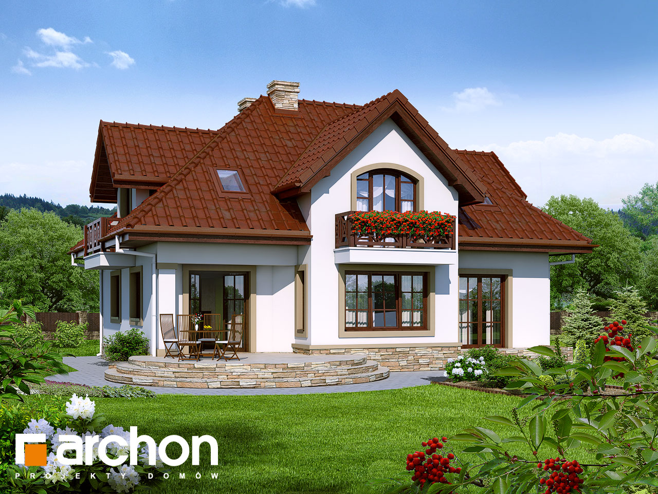 Проект будинку ARCHON+ Будинок в мірабеллі 2 вер.2 Вид 2