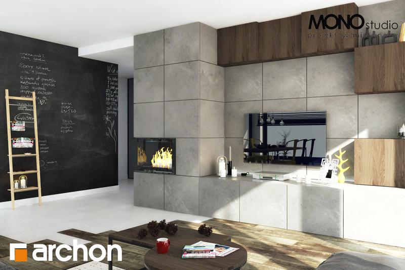 Проект дома ARCHON+ Дом под красной рябиной (Н) вер.2 дневная зона (визуализация 3 вид 1)